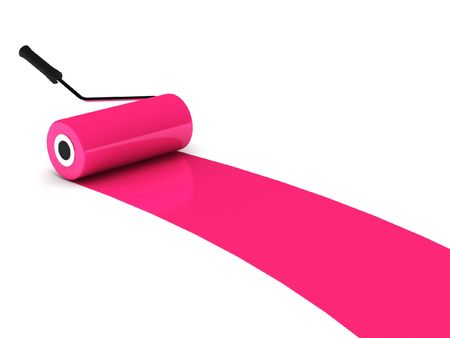 Pink paint roller isolated on white background. High quality 3d render. Stock Photo
