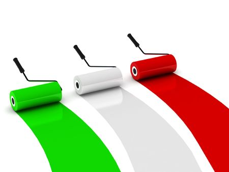 Colors of Italy. Paint roller isolated on white background. High quality 3d render. Stock Photo