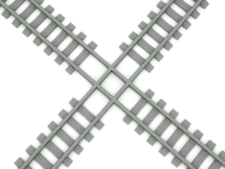 intersects: Crossed railroad isolated on white background. High quality 3d render. Stock Photo