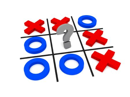 standoff: Tic-tac-toe, uncertainty. Crosses and zeros isolated on white background. High quality 3d render. Stock Photo