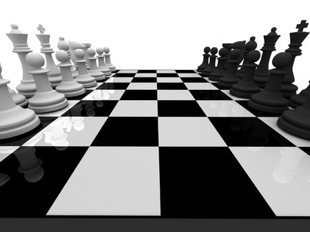Chess. Chessmen on chessboard isolated on white background. High quality 3d render. photo