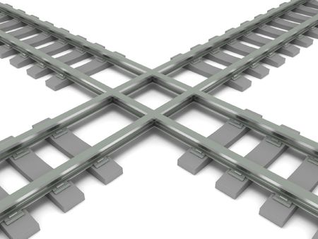 Crossed railroad isolated on white background. High quality 3d render. photo
