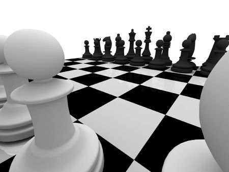 Chess. Chessmen on chessboard isolated on white background. High quality 3d render.