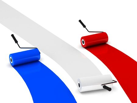 france painted: Colors of France. Paint rollers isolated on white background. High quality 3d render. Stock Photo