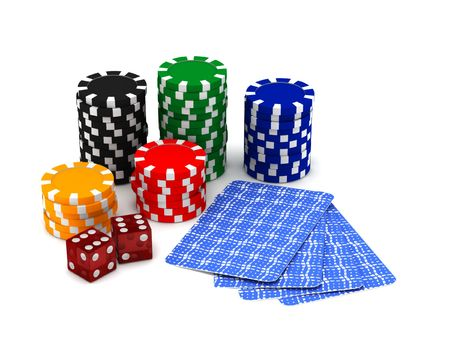hold em: Gambling. Chips, cards and dices isolated on white background. High quality 3d render. Stock Photo
