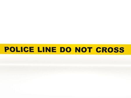 escena del crimen: No cruzar la l�nea de la polic�a. Cinta amarilla aislado sobre fondo blanco. Procesamiento de 3d de alta calidad.