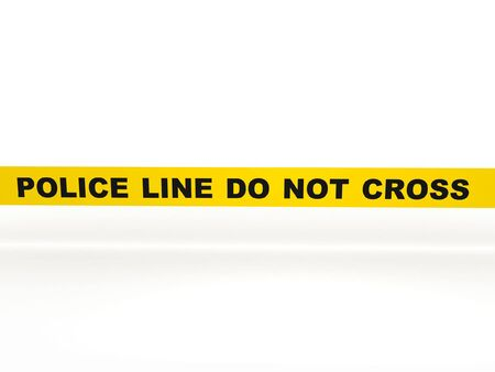 scene of a crime: Police line do not cross. Yellow tape isolated on white background. High quality 3d render.