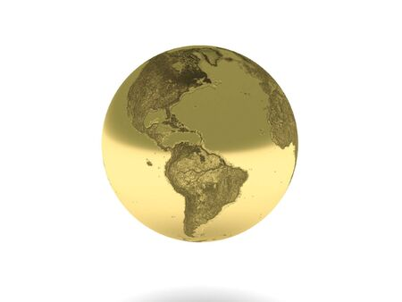 the turn of the year: Golden earth isolated on white background. High quality 3d render.