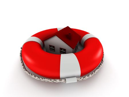 Estate insurence. House in lifebuoy isolated on white background. High quality 3d render. photo