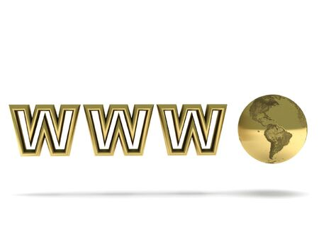 World Wide Web. Golden globe and letters isolated on white background. High quality 3d render. photo