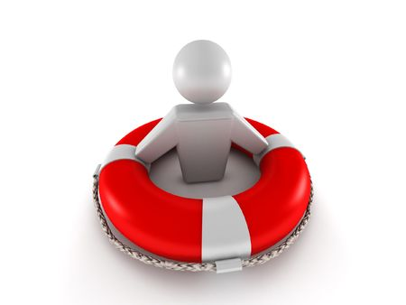 Life insurance. Red lifebuoy with human isolated on white background. High quality 3d render.