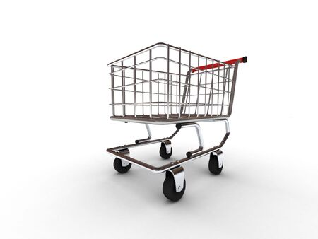 Shopping cart isolated on white background. High quality 3d render. photo
