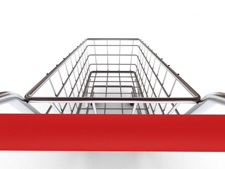 shopping trolley: Shopping cart isolated on white background. High quality 3d render.