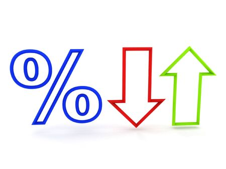 pct: Percent (up and fall) isolated on white background. High quality 3d render. Stock Photo