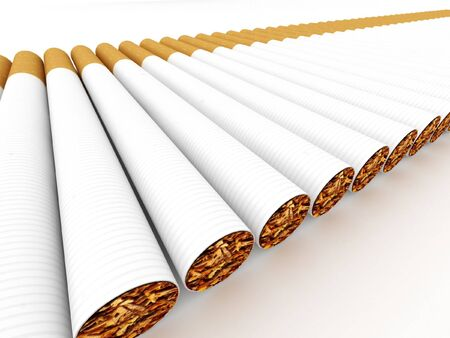 baccy: Row of cigarettes isolated on white background.  High quality 3d render. Stock Photo