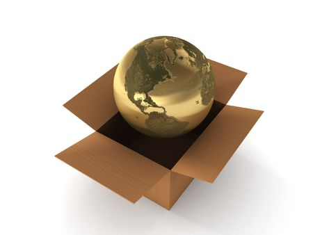 International shipping. Golden globe in box isolated on white background. High quality 3d render. photo