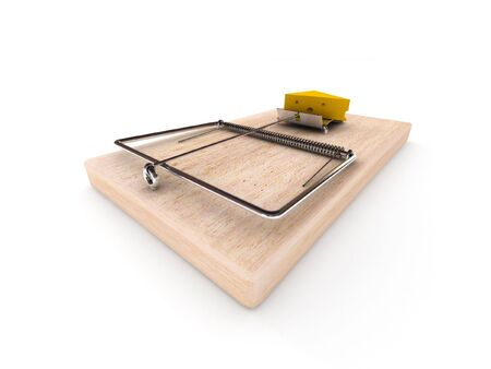 mousetrap: Mousetrap with cheese isolated on white background. High quality 3d render.