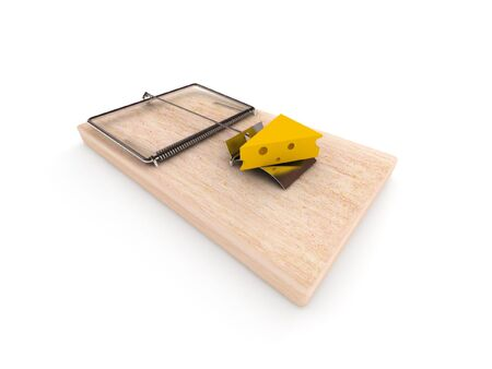 bribing: Mousetrap with cheese isolated on white background. High quality 3d render.