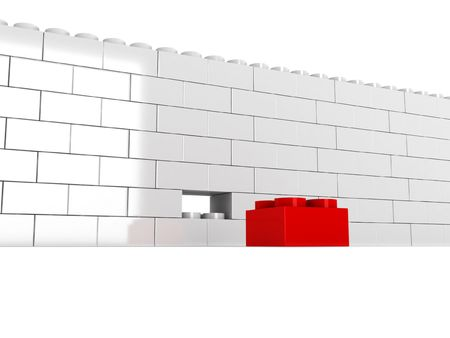 Wall without block isolated on white background. High quality 3d render. Stock Photo - 7320443