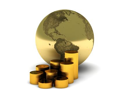 The Earth and gold coins isolated on white background. High quality 3d render.
