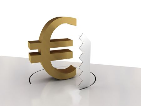 price cutting: Falling of euro isolated on white background. High quality 3d render.