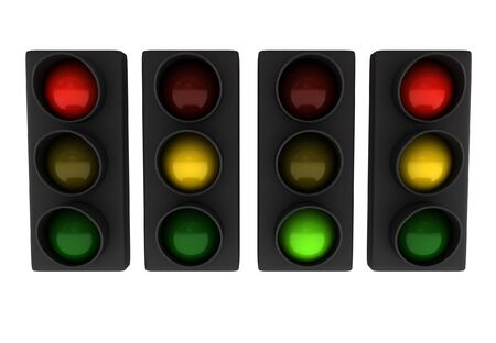 Set of traffic lights (different variations) isolated on white background. High quality 3d render. Stock Photo - 7380152