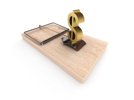 sudden: Money trap. Mousetrap with dollar sign isolated on white background. High quality 3d render. Stock Photo