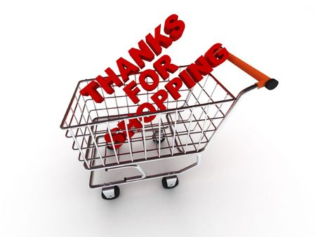 Thanks for shopping. Words in shopping cart isolated on white background. High quality 3d render. photo