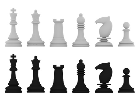 Black and white chessman isolated on white background. High quality 3d render.
