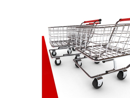 Shopping cart race. Isolated on white background. High quality 3d render. photo