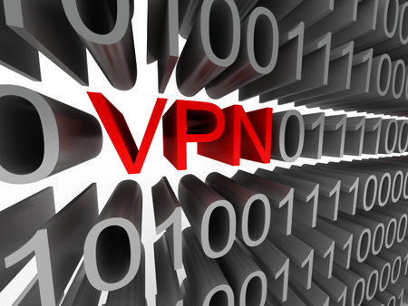 VPN in the form of binary code isolated on white background. High quality 3d render.