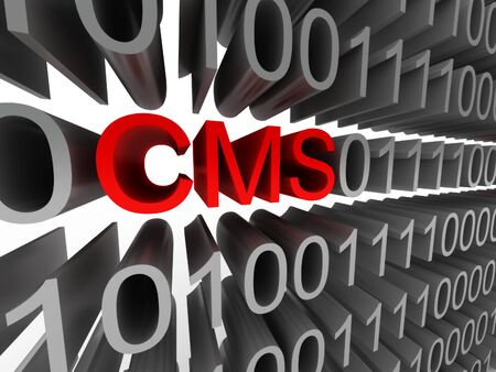 CMS in the form of a binary code isolated on white background. High quality 3d render.