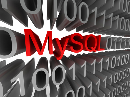 mysql: MySQL in the form of binary code isolated on white background. High quality 3d render.