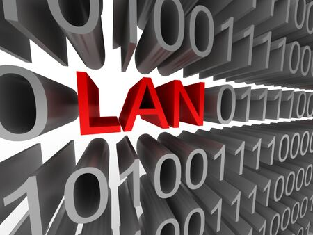 lan: LAN in the form of binary code isolated on white background. High quality 3d render.