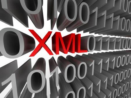 白い背景に分離されたバイナリ コードの形式で XML です。高品質 3 d レンダリング。 写真素材
