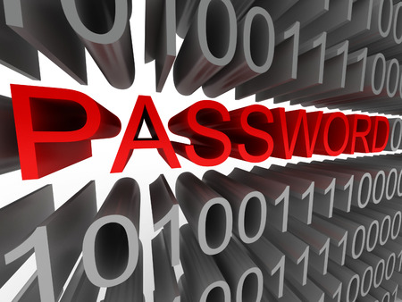 Password in the form of binary code isolated on white background. High quality 3d render. Stock Photo