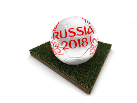 world championships: 2018 World Cup Russia. Soccer ball on a piece of grass. High quality 3d render.