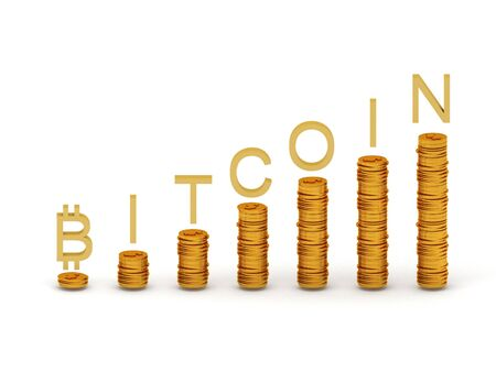 technology transaction: Bitcoins with coin graph isolated on white background. High quality 3d render.