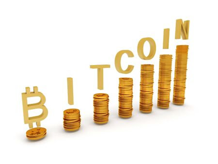 wages: Bitcoins with coin graph isolated on white background. High quality 3d render.