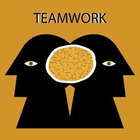 depend: businessman working together  Illustration