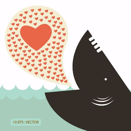 Whale in love concept for valentine Vector