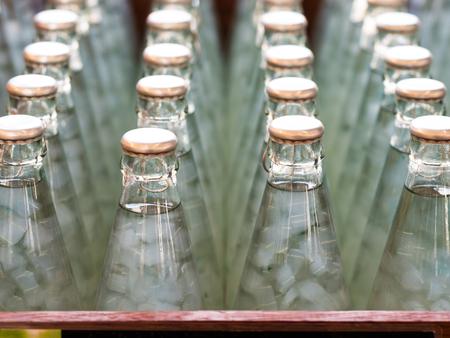 nata: bottles of Nata de coco in syrup, select focus Stock Photo