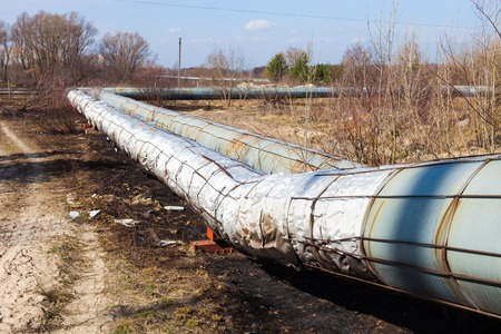 lagging: Heating pipelines  Straight and bending sections  Stock Photo