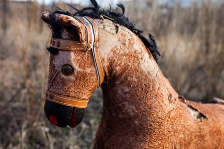 unneeded: Close-up of the old threadbare rocking horse thrown away to the dump in the field Stock Photo