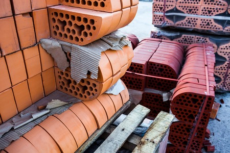 rounded edges: Stacks of silicate bricks with rounded edges  Stock Photo