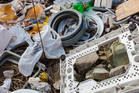 dumping: Piles of garbage on the city landfill Stock Photo
