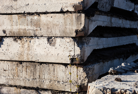 Stack of concrete blocks on the construction site  photo
