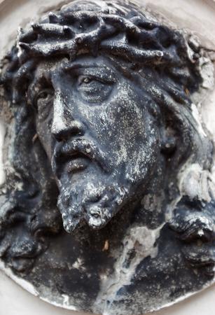 decedent: Old cemetery marble sculpture of Jesus Christ
