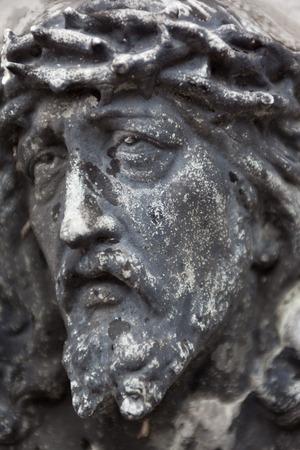 deceased: Old cemetery marble sculpture of Jesus Christ