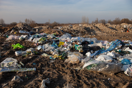 Piles of garbage on the city landfill